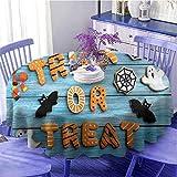 Mantel redondo de Halloween para camping, truco o tratar galletas de pan de jengibre en azul mesa de madera araña fantasma de secado rápido diámetro 43 pulgadas multicolor