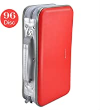CD DVD Wallet, Wismart 96 Capacity Heavy Duty Sturdy DVD Storage Hard Shell CD Disk Holder DVD Case VCD Wallets Blu-ray Media Case Storage Holder Organizer Wallet,96 Capacity (Red)