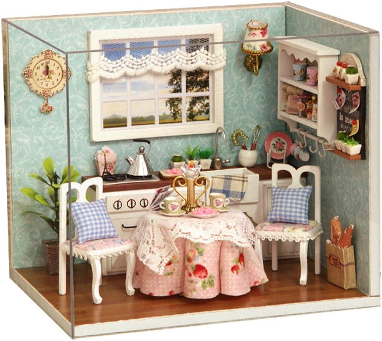 Ouqian Spielzeug Miniatur-Puppenhaus-Kit DIY Hlzernes Puppenhaus Handwerk Miniatur Kit Küchenecke Modell Mbel Geschenke für Frauen und Mdchen (Farbe   Multi-ColGoldt, Größe   15.1  11.6  13.1cm)