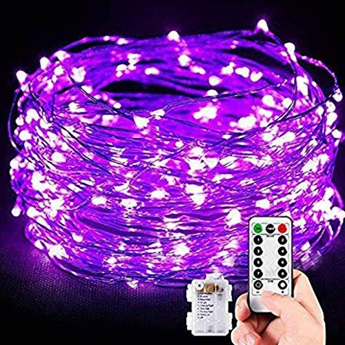 LED Lichterkett,10M 100 Lichterkett Batterie 8 Modi Außenbeleuchtung Kupferdraht mit Fernbedienung und Timer wasserdicht Lichterkett für Weihnachten, Hochzeit, Garten, Kinderzimmer (Lila)
