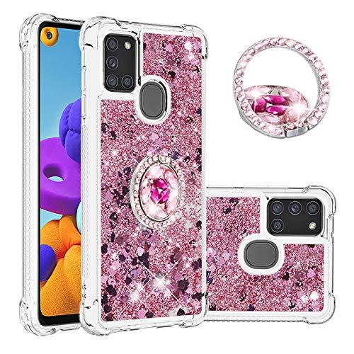 SEEYA Funda Glitter Líquido para Samsung Galaxy A21s Carcasa con Anillo Diamante Silicona Transparente Brillante Cristal Caso Gel Suave Flexible y Ligera Cover Diseño Corazón Oro Rosa