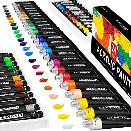 FIXSMITH Acrylic Paint, Set of 24 Colors/Tubes (0.74 oz, 22 ml) with Storage...