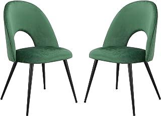 Injoy Life Lot de 2 chaises de salle à manger en velours avec rembourrage éponge Chaise de bureau moderne avec pieds en mé...