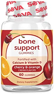 SOVA Nutrition Bone Support - 60 Gummies - Cherry & Orange Cream - with Calcium & Vitamin D for Support and...