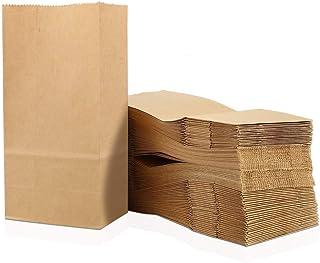 Greneric 100 Petites Sachet Courses Alimentaires en Papier Kraft 9 x 16 x 5 cm Sac d'emballage Biodégradable pour Bonbons ...