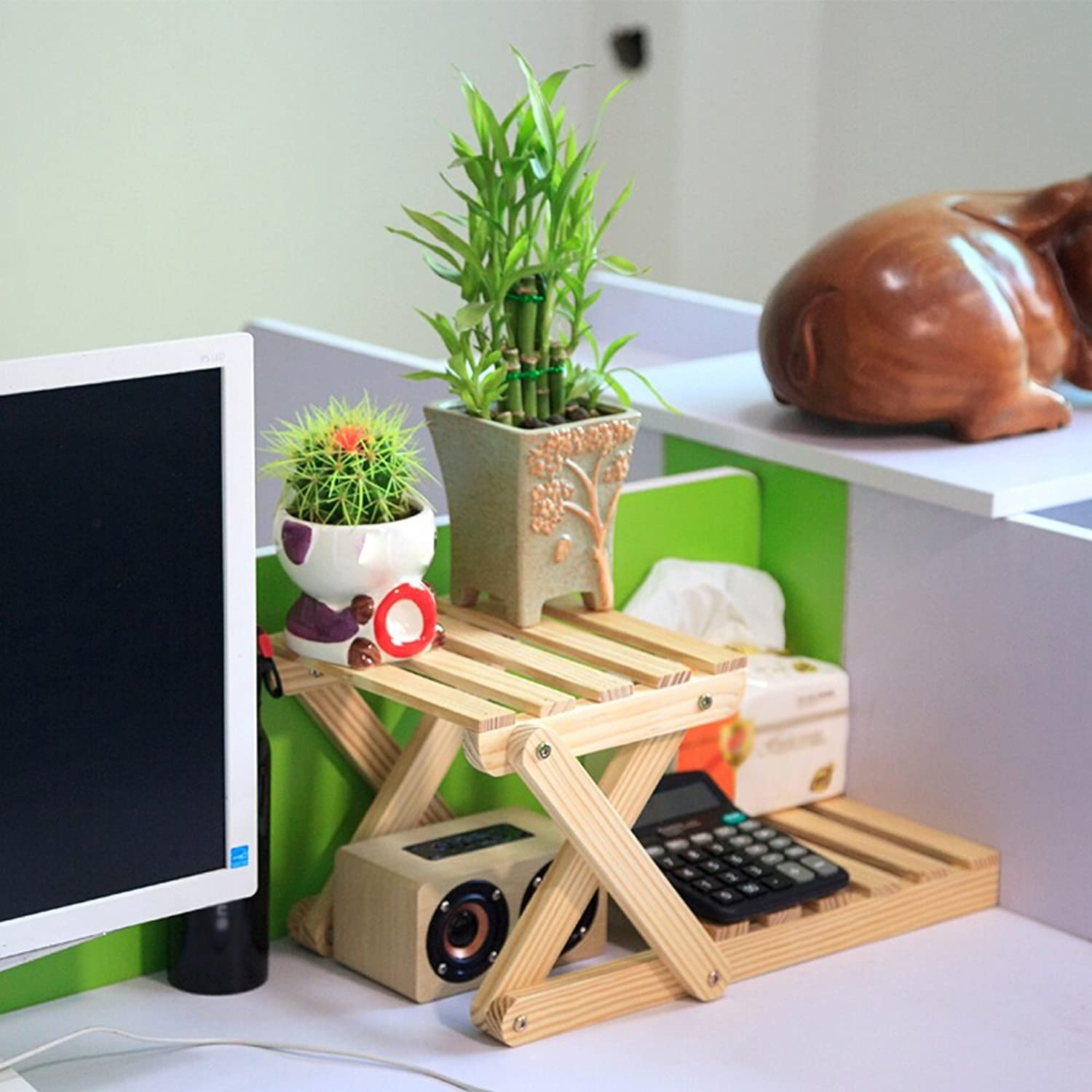 SYF Desk Storage Rack Solid Wood Plant Frame Flower Stand 2 Layers of Durable Bracket Desk Flower Stand 42x21x21cm A+ (color   C)