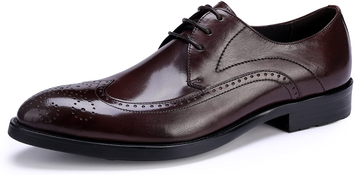 HUAN Men's Dress Leather shoes Formal Wing Tip Brogue Business Oxfords Wedding Office Suit shoes