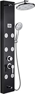 ROVOGO Stainless Steel Shower Panel System, Height Adjustable Rainfall Shower Head+6 Body Sprays+Hand Shower+Tub Spout, Multi-function Bathroom Shower Set with Water Temperature Display, Black