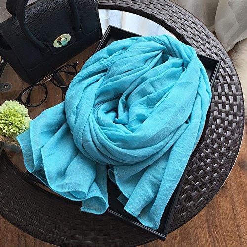 BAGEHUAN Beige Baumwolle und Leinen Schal Frauen Winter Farbe Schal große Frühjahr und Herbst Lange Schal Wild im Herbst und Winter Kragen, Sky Blue