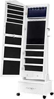 SONGMICS Jewelry Cabinet with Wheels, Mirror, Lockable Freestanding Jewelry Organizer with LED Lights, Large Drawer, White...