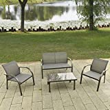 4 Piece Patio Outdoor Conversation Set Furniture For Outdoor Garden Beach Patio And Poolside. 1 Rectangle Tempered Glass Top Low Coffee Table +1 Double Sofa +2 Single Arm Chair
