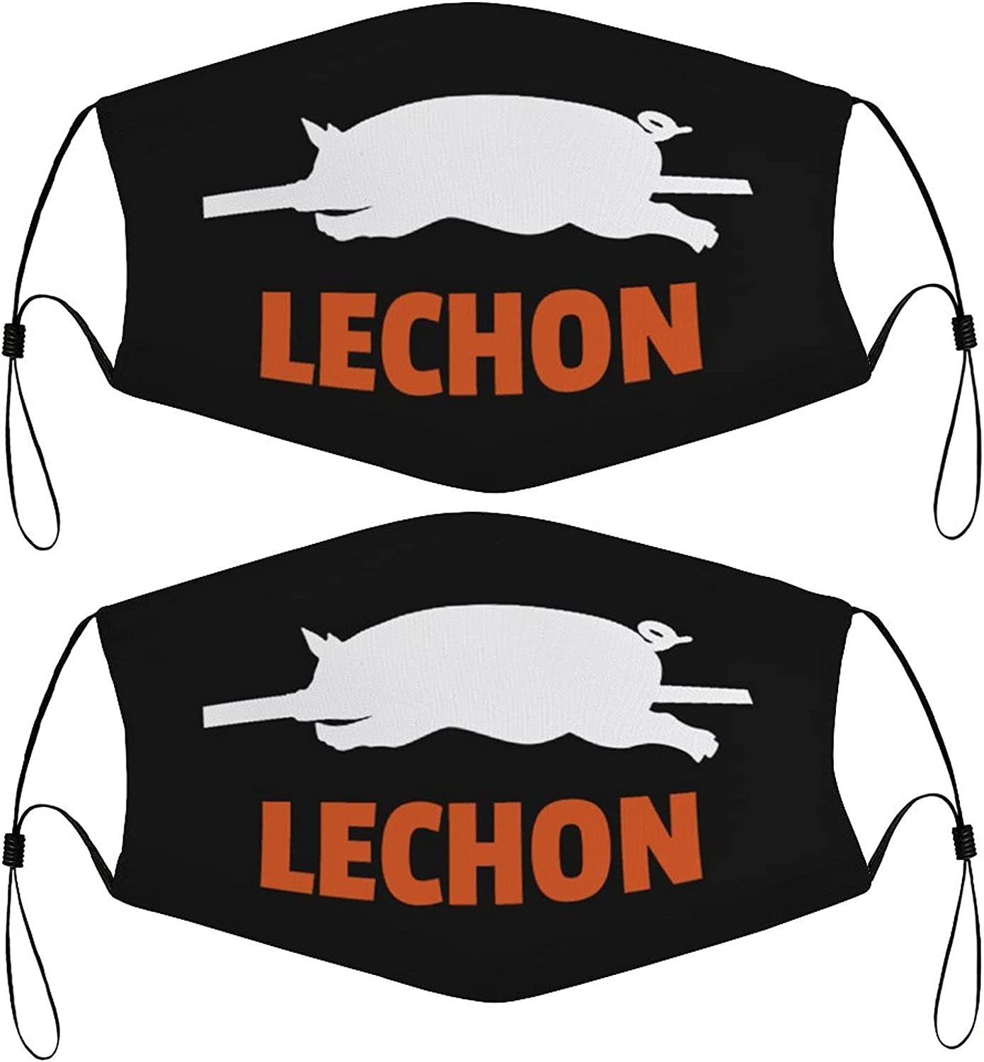 Lechon Filipino Kids Face Masks Set of 2 with 4 Filters Washable Reusable Breathable Black Cloth Bandanas Scarf for Unisex Boys Girls