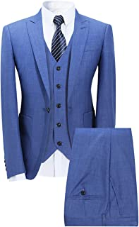 Mens 3 Piece Elegant Suit Set Dress 1 Button Dinner Blazer Tux Jacket Vest Pants