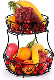 Corbeille à fruits à 2 étages, panier à fruits en métal, support amovible pour fruits, légumes, pain, collations