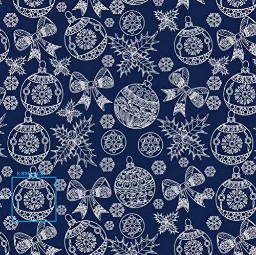 Pingianer Tela de algodón para niños, 100 x 160 cm, 100 % algodón, por metros, artesanía, costura (bola de Navidad, lazo azul 1, 100 x 160 cm)