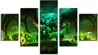 AtfArt 5 Piece Illidan Stormrage Lord Of Outland Black Temple World Of Warcraft Art Demon Shadowmoon Valley Stormrage Illidan Wow Home Decor Wall Posters Fabric Painting Unframed 50 inch x30 inch