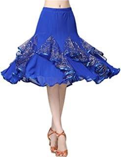 CISMARK Elegant Ballroom Latin Party Long Swing Tiered Dance Skirt for Women