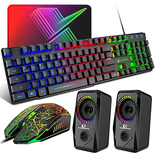 QWERTZ - Juego de teclado para videojuegos, 4 en 1, diseño de arco iris con retroiluminación LED + 7 colores de luz LED para ratón + altavoz RGB, compatible con PS4 Xbox