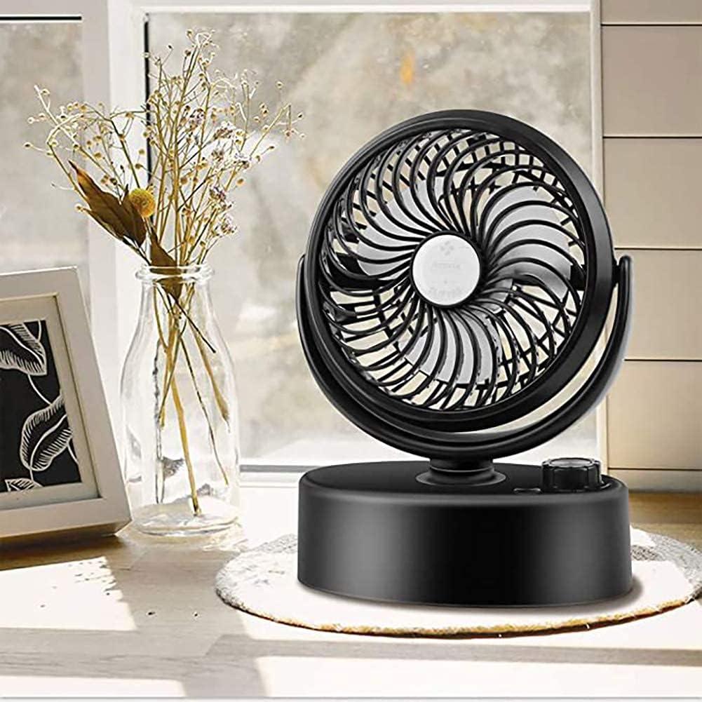 Queta Ventilador USB, pequeño ventilador de mesa con fuerte flujo de aire y funcionamiento silencioso, 3 velocidades, cabezal giratorio 360°, fácil de llevar para la oficina, el hogar y al aire libre