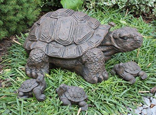 Tiefes Kunsthandwerk Steinfigur Schildkröte 4er Set - Dunkelbraun, Deko, Figur, Garten, Stein, frostsicher