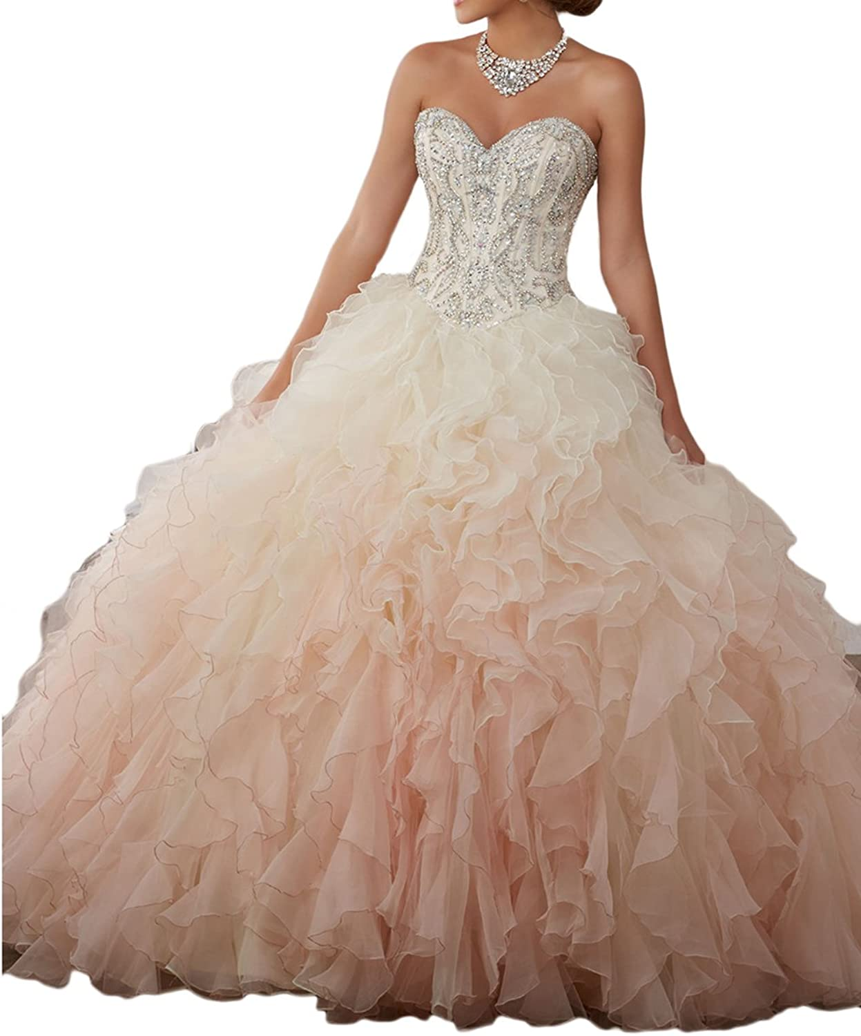 Beilite Women's Sweetheart Organza Quinceanera Dresses with Crystal Bead