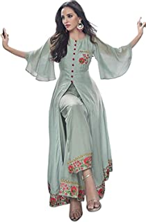 Women Top Women's and Girls Gown Piece Kurti Lenghth Fully Stiched with Dupatta (Free_Size)