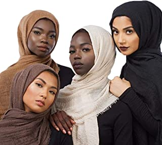 """QYMY 4pcs Set Hijab Muslim Head Scarf Solid Color Long Scarf Wrap Scarves Cotton Scarf for Women Fashion L70.7""""xW35.4"""" QY414"""