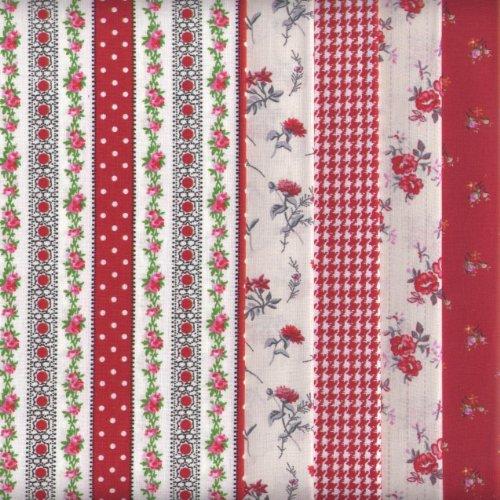 Bundle de telas - 5 telas (nuevos rojos) - colección de telas de coordinación (pequeños diseños)   100% algodón   46 x 56 cm