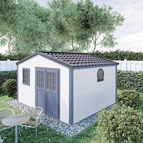 Abri de Jardin Bois Shelty Plus 14m², toiture en Acier galvanisé, madriers 28mm