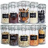 Creative Home 10 x Tarros de Cristal Herméticos con Tapa | 10 x 500ml | Set Botes Envases Cierre de Clip | para Conservar Alimentos | 12 Pegatinas Reutilizables + 1 Tiza Sin Polvo