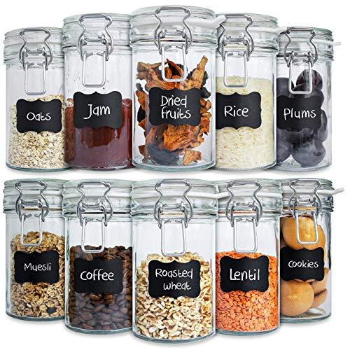 Creative Home Bocaux en Verre Lot | 10 x 500ml Hermétique avec Couvercle | Bocal Jar Pot Decoratif | pour Conservation Confiture | 12 Autocollants Réutilisables et 1 Craie Anti-Poussière