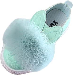 Mignon Chaussures Bateau Lapin en Peluche pour Fille Mocassins Cuir Chaussures Plates Souple Élasticité Antidérapant Chaus...