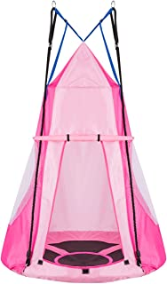 100cm Kids Detachable Tree Tent Swing Set, 2 in 1 Design as a Swing Seat and Nest Hammock Chair for Having Fun, Indoor Out...