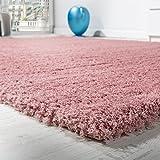 Paco Home Shaggy Teppich Micro Polyester Wohnzimmer Teppiche Elegant Hochflor Pink, Grösse:80x150 cm