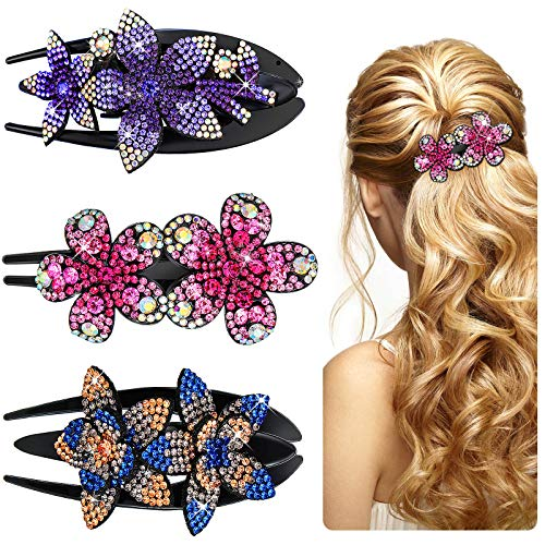 3 Pieces Glitter Hair Comb Claw Rhinestone Double Flower Hair Clips Flower Hairpin Barrettes Duckbill Flower Hair Clip Floral Dovetail Hair Clips for Women Girls