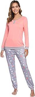Abollria Pijama Mujer Algodón 2 Piezas Set V-Cuello Conjunto de Pijamas de Manga Larga Jogging Estilo Ropa de Dormir