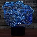 Novedad lámpara cámara ilusión luz táctil Color cambiante Mesa Noche luz mesita luz Decorativa