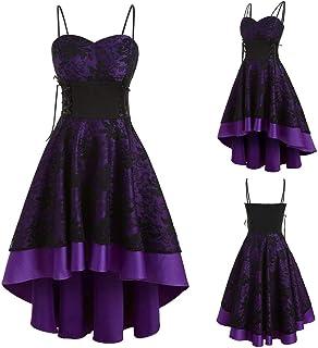 YEBIRAL Damen 1950er Vintage Retro Rockabilly Kleider Elegant Spitzenkleid Hochzeit Ärmellos Cocktail Abendkleider