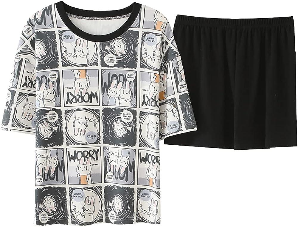 KINYBABY Big Girls Cotton Lounge Sets Summer Sleepwear Nighty Cute Animal Print Lovely Pajamas Top & Shorts (CKE-M1102,16-18 Years/Tag XXL)