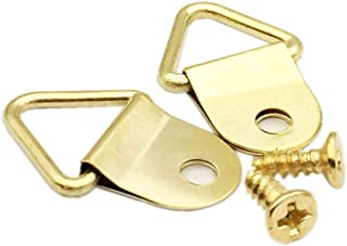 100 Pack Small Triangle Ring Steel Picture Hangers with Screws Picture Frames Picture Hang Solutions, for Hanging Clock Paintings Artwork Picture Frame Hook Photos(Gold)