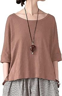 Aeneontrue Women's 100% Bamboo Cotton Short Sleeve T-Shirt Tees Capri Tops Front Pockets