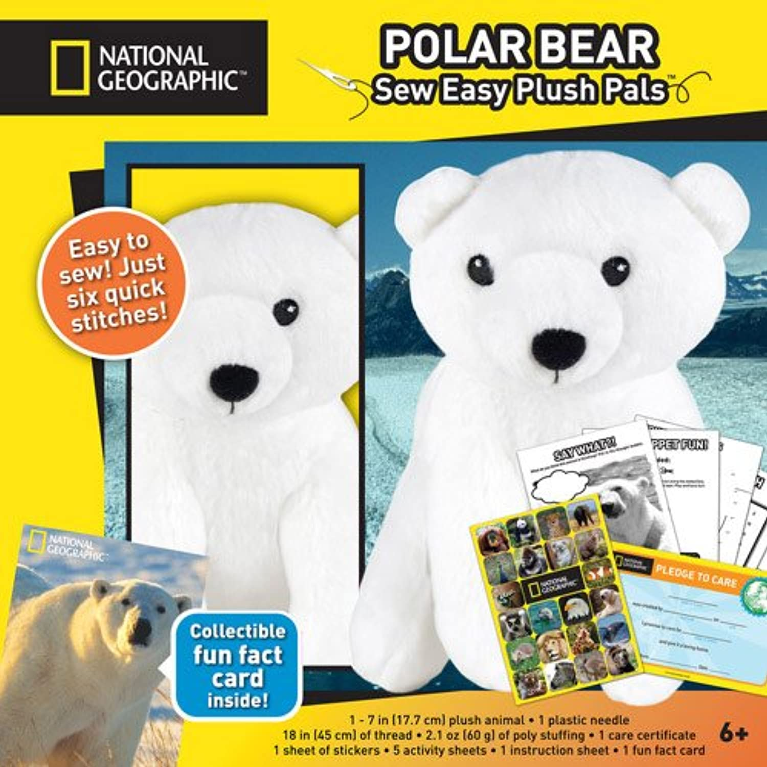 National Geographic Sew Easy Plush Pals Polar Bear Cute make it toy