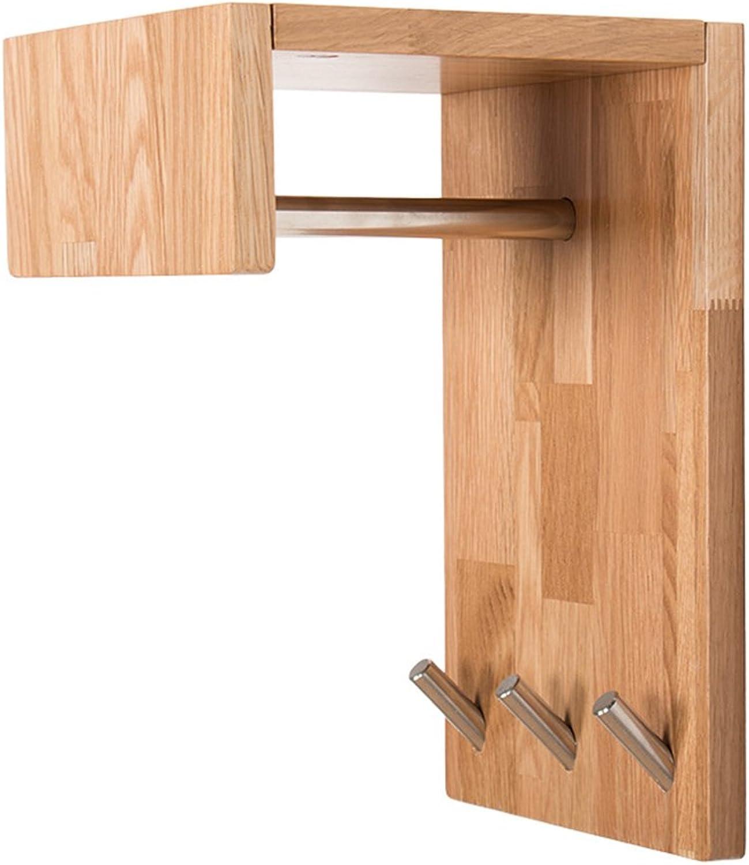 Coat Rack, Nordic Oak Creative Porch Coat Rack Wall Hanger Simple Solid Wood Shelf Shelf Wall 30  20  9cm Easy to Install