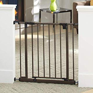 """North States 38.5"""" Wide Easy-Close Baby Gate: The Multi-Directional Swing gate with Triple Locking System - Ideal for doorways or Between Rooms. Pressure Mount. Fits 28""""-38.5"""" Wide (29"""" Tall, Bronze)"""