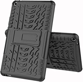 TenYll case For Huawei MediaPad T3 8.0, Shockproof Tough Heavy Duty Armour Back Case Cover Pouch With Stand Double Protective Cover Huawei MediaPad T3 8.0 Case -Black