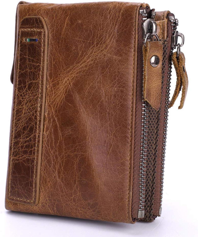 DZX Herren Braun Slim Bi-Fold Geldbörse Glatt Echtem Luxus Leder 5 Slot Karte Geldscheinklammer B07GFDRPVD