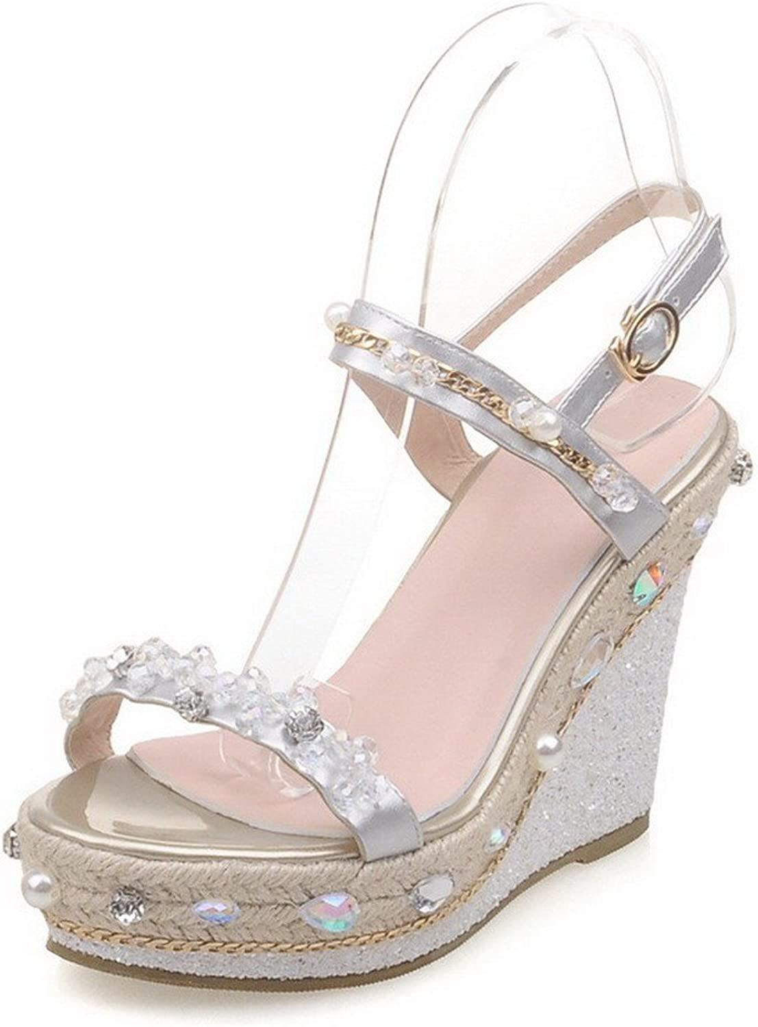 AmoonyFashion Women's Open-Toe Buckle Pu Solid High Heels Sandals