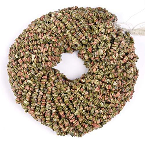 Shree_Narayani Cuentas sueltas Unakite de calidad AAA para hacer joyas, collares, pulseras, pendientes, manualidades, 1 hebra