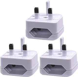 BS5732 Approved EU Type C Small Plug to KSA/UAE/UK/HK/Singapore Adaptor Plug with 5A Fuse, 2-Pin DE/FR/IT/ES/European Plug...