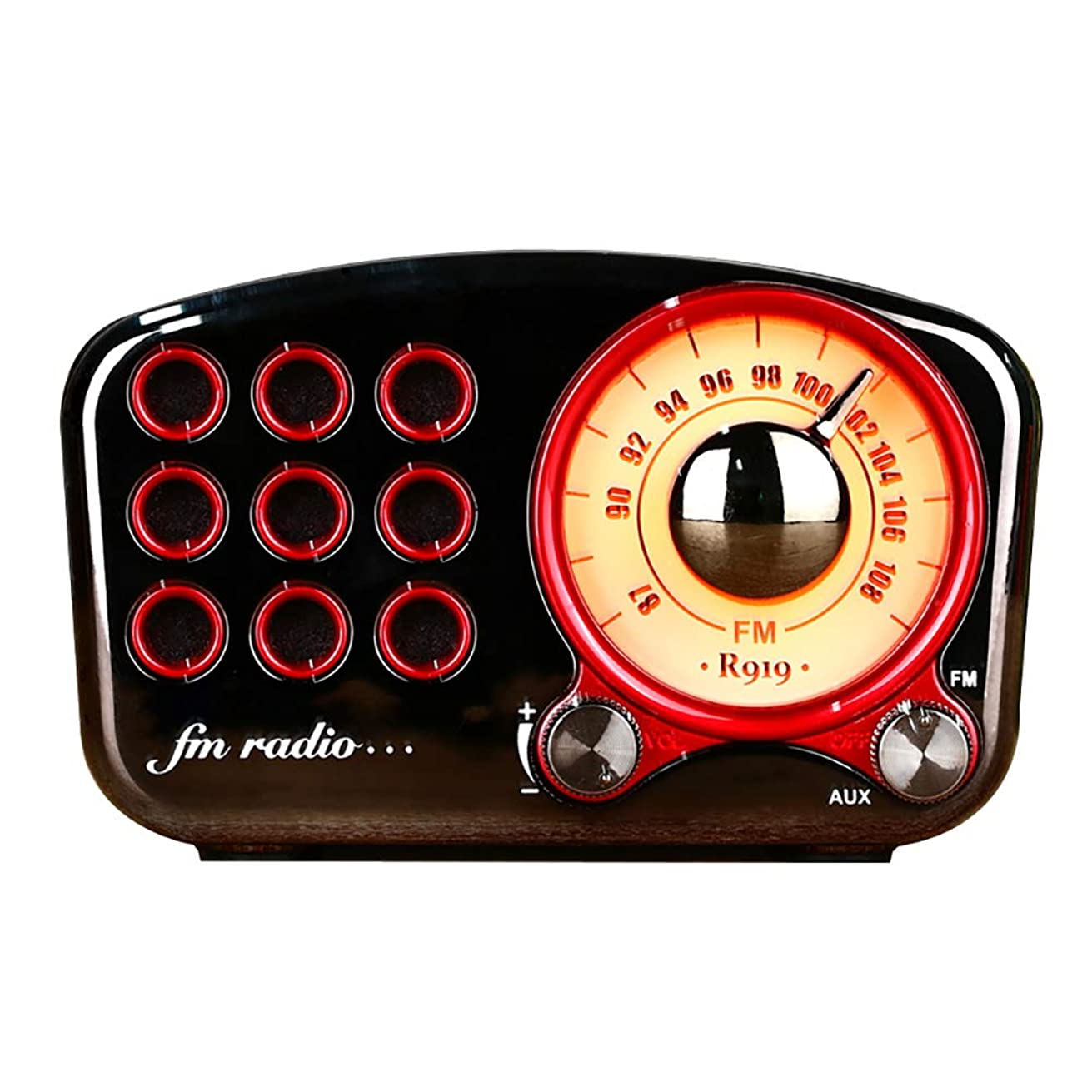 Retro Radio Bluetooth Speaker, Portable Wireless, with Lights, High Fidelity Sound Quality, 8 Hours of Battery Life, Stand by TF Card AUX, Suitable for Family (Gun Color)